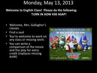 Monday , May  13,  2013