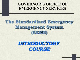GOVERNOR'S OFFICE OF EMERGENCY SERVICES