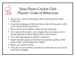 Emu Plains Cricket Club Players' Code of Behaviour