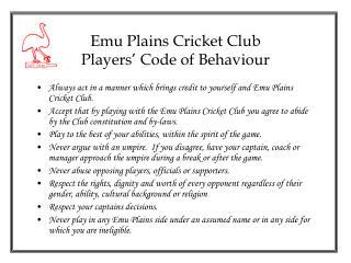 Emu Plains Cricket Club Players� Code of Behaviour