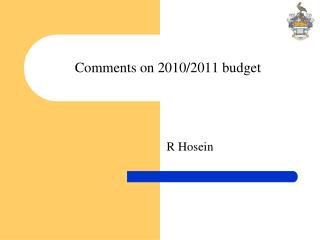 Comments on 2010/2011 budget