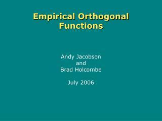 Empirical Orthogonal Functions
