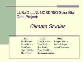LUSciD-LLNL UCSD/SIO Scientific Data Project: