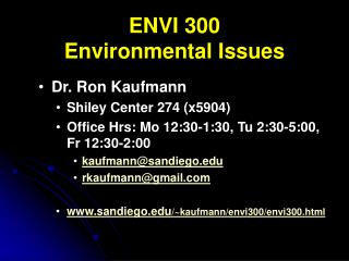 ENVI 300 Environmental Issues