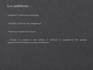 Les ambitions