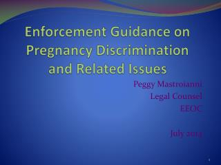 Enforcement Guidance on Pregnancy Discrimination and Related Issues
