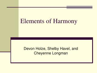 Elements of Harmony