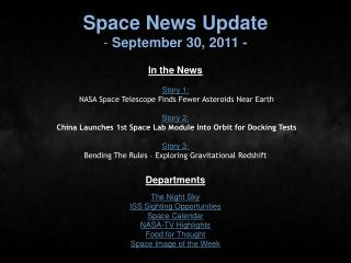 Space News Update  September 30, 2011 -