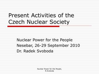 Present Activities of the Czech Nuclear Society