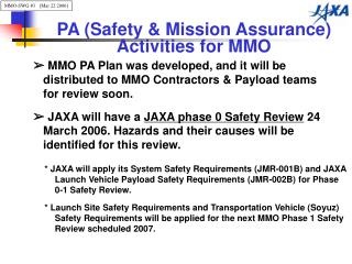 PA (Safety & Mission Assurance) Activities for MMO