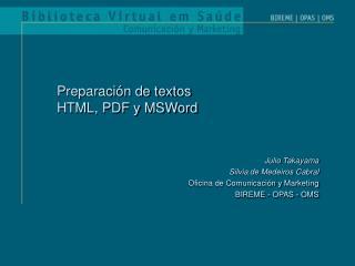 Preparación de textos  HTML, PDF y MSWord