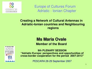 Europe of Cultures Forum Adriatic - Ionian Chapter