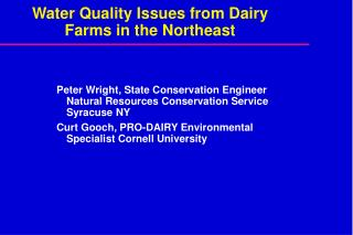 Water Quality Issues from Dairy Farms in the Northeast