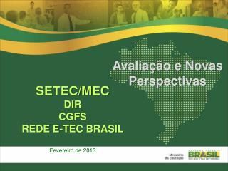 SETEC/MEC DIR CGFS REDE E-TEC BRASIL Fevereiro de 2013