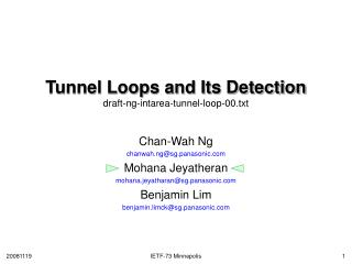 Tunnel Loops and Its Detection draft-ng-intarea-tunnel-loop-00.txt