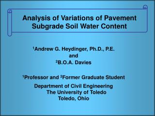 Analysis of Variations of Pavement Subgrade Soil Water Content