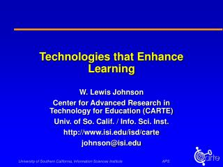 Technologies that Enhance Learning