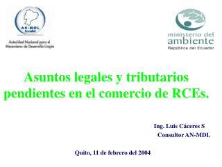 Asuntos legales y tributarios pendientes en el comercio de RCEs.