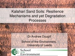 Dr Andrew Dougill School of the Environment,  University of Leeds