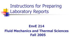 Instructions for Preparing Laboratory Reports