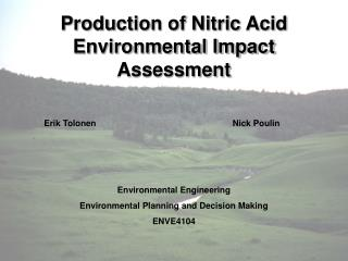 Production of Nitric Acid Environmental Impact Assessment