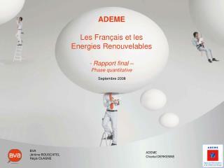 ADEME Les Français et les Energies Renouvelables - Rapport final – Phase quantitative