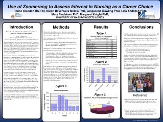 Bring Diversity to Nursing: Use of Zoomerang to Assess  Interest in Nursing as a Career Choice