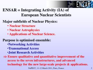 ENSAR = Integrating Activity (IA) of 		European Nuclear Scientists
