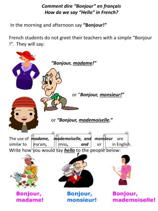 "Comment dire ""Bonjour"" en français How do we say ""Hello"" in French?"