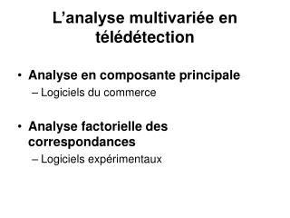 L analyse multivari e en t l d tection