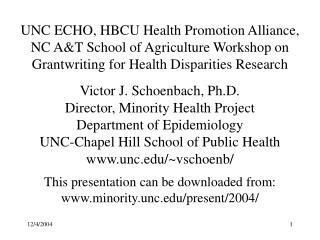UNC ECHO, HBCU Health Promotion Alliance, NC AT School of Agriculture Workshop on Grantwriting for Health Disparities Re
