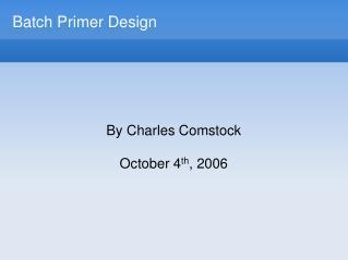 Batch Primer Design