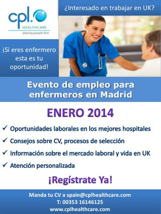 Evento de  empleo  para  enfermeros en  Madrid