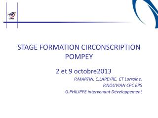 STAGE FORMATION CIRCONSCRIPTION POMPEY