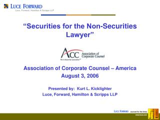 �Securities for the Non-Securities Lawyer�