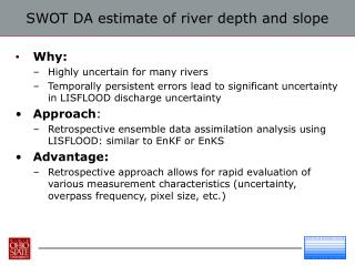 SWOT DA estimate of river depth and slope