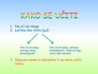 KAKO SE UČITI