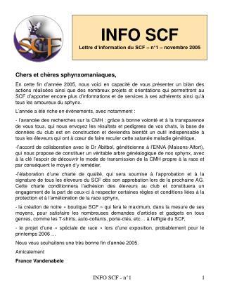 INFO SCF Lettre d'information du SCF – n°1 – novembre 2005
