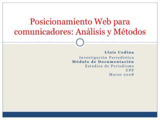 Posicionamiento Web para comunicadores: An lisis y M todos