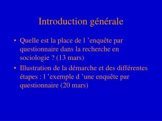 Introduction g�n�rale