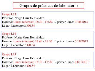 Grupos de prácticas de laboratorio