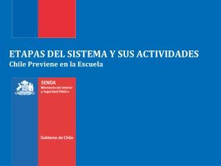 ETAPAS DEL SISTEMA Y SUS ACTIVIDADES Chile Previene en la Escuela