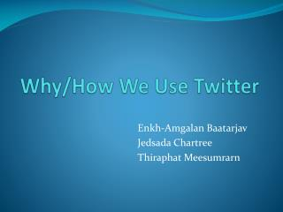 Why/How  We Use Twitter