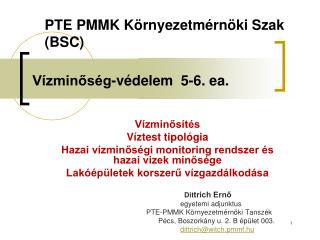 Vízminőség-védelem  5-6. ea.