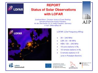 REPORT  Status of Solar Observations  with LOFAR