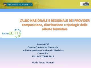 Forum ECM Quarta  Conferenza Nazionale  sulla Formazione Continua in Medicina Cernobbio