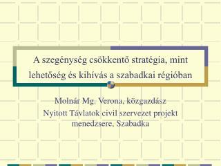 A szegénység csökkentő stratégia, mint lehetőség és kihívás a szabadkai régióban