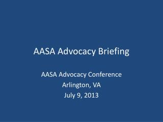 AASA Advocacy Briefing