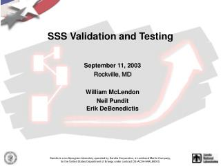 SSS Validation and Testing