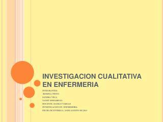 INVESTIGACION CUALITATIVA EN ENFERMERIA